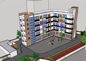 某現代風格詳細的多層學校建筑SU(草圖大師)模型