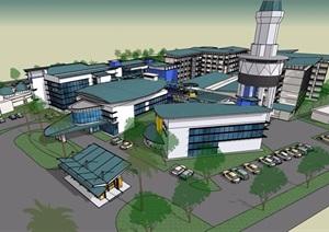 休闲度假中心详细完整建筑设计SU(草图大师)模型