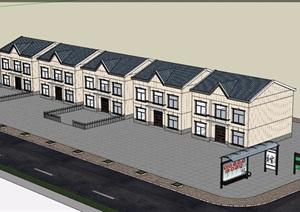 欧式风格民居住宅多层建筑设计SU(草图大师)模型