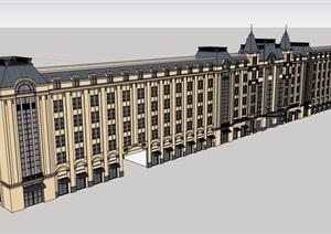 欧式风格详细的商业办公楼SU(草图大师)模型
