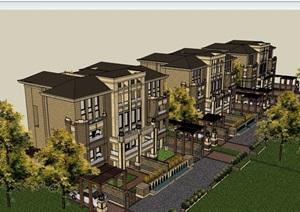 某详细的住宅小区别墅建筑SU(草图大师)模型