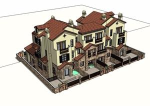 详细的整体住宅小区别墅建筑设计SU(草图大师)模型