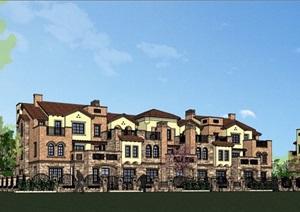 欧式整体详细的完整住宅小区别墅设计SU(草图大师)模型
