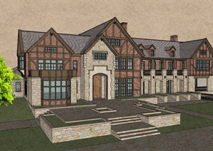 英式风格详细的完整多层别墅设计SU(草图大师)模型