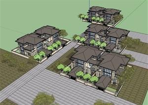 欧式风格详细的整体双拼住宅别墅设计SU(草图大师)模型