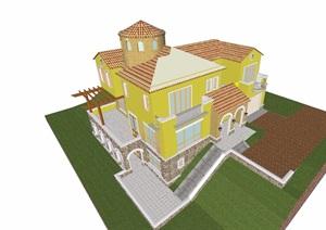 私人欧式风格独栋住宅别墅设计SU(草图大师)模型