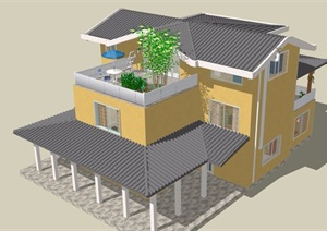 中式风格详细的私人住宅别墅设计SU(草图大师)模型