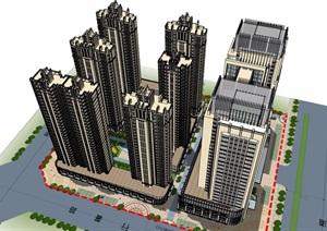某新古典风格详细的商业住宅小区建筑楼设计SU(草图大师)模型