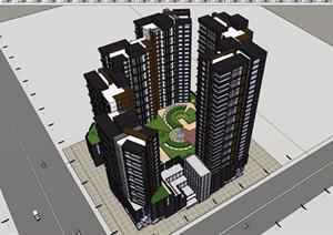 现代高层详细的商业住宅楼设计SU(草图大师)模型