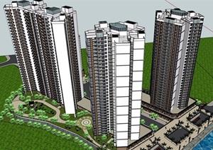 某商业住宅楼高层建筑设计SU(草图大师)模型