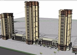 详细的整体完整商业住宅楼设计SU(草图大师)模型