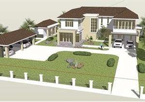 私人详细的欧式风格住宅别墅设计SU(草图大师)模型