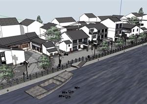 中式风格民居住宅楼多层建筑设计SU(草图大师)模型