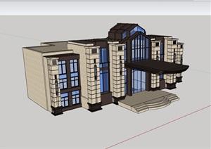 新古典风格售楼处建筑设计SU(草图大师)模型