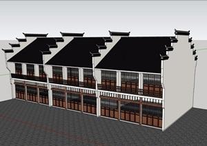 徽派中式风格详细的街边商业建筑设计SU(草图大师)模型