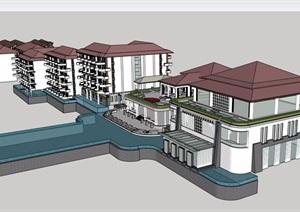 某简欧风格详细的酒店建筑设计SU(草图大师)模型