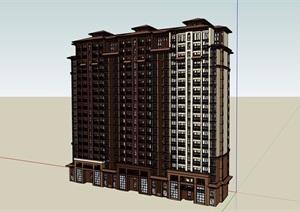 欧式风格详细的高层居住小区建筑楼设计SU(草图大师)模型