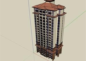 欧式风格详细的整体住宅高层建筑楼设计SU(草图大师)模型