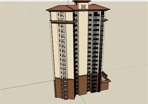 欧式风格详细的完整高层住宅楼设计SU(草图大师)模型