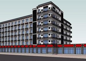 某中式风格大酒店建筑SU(草图大师)模型