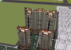 某欧式风格详细的高层小区居住建筑楼设计SU(草图大师)模型