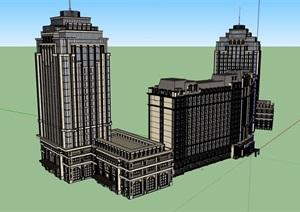 某详细的完整高层酒店建筑SU(草图大师)模型