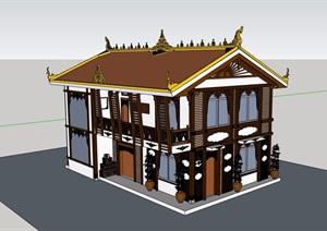 东南亚风格两层民居住宅楼设计SU(草图大师)模型