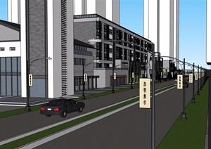 中式风格详细的完整多层商业建筑楼SU(草图大师)模型