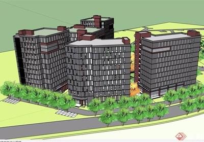 某住宅详细的高层小区建筑楼su模型