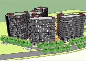 某住宅详细的高层小区建筑楼SU(草图大师)模型