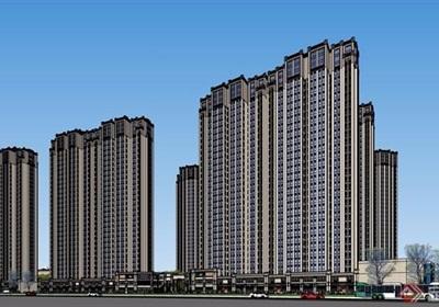 某详细的商住详细的小区住宅高层建筑su模型