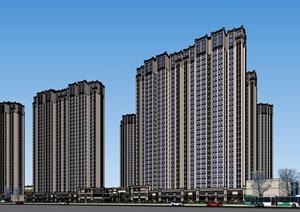 某详细的商住详细的小区住宅高层建筑SU(草图大师)模型