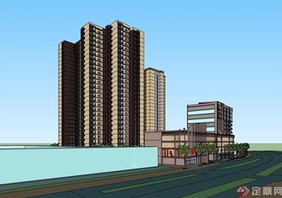 某现代风格详细的商业住宅建筑楼su模型