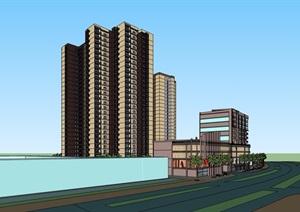某现代风格详细的商业住宅建筑楼SU(草图大师)模型
