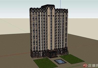 一梯四户详细的小区高层建筑楼设计su模型