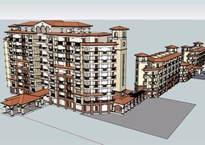 某欧式风格详细的多层度假酒店完整设计SU(草图大师)模型