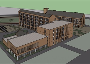 某現代風格詳細的完整多層學校教育建筑SU(草圖大師)模型