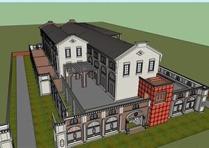 欧式风格详细的变电站建筑设计SU(草图大师)模型