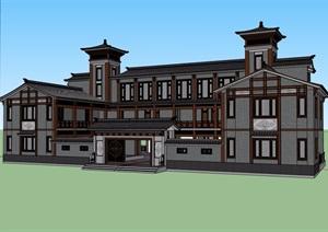 徽派博物馆详细多层建筑设计SU(草图大师)模型