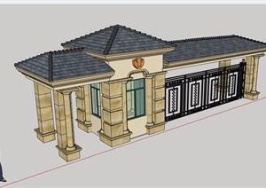 一个小区入口保安亭大门素材设计SU(草图大师)模型