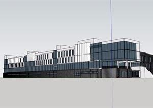 學校教學樓多層詳細設計SU(草圖大師)模型