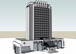 现代中式酒店带裙楼大厦SU(草图大师)模型