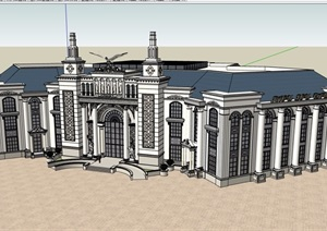 某详细的完整欧式售楼处三层建筑设计SU(草图大师)模型