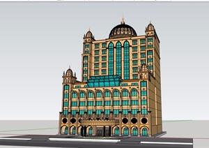 欧式风格详细独栋经典酒店素材设计SU(草图大师)模型
