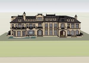 法式洋房多层详细住宅完整设计SU(草图大师)模型