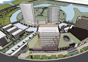 大型商业办公详细综合体建筑SU(草图大师)模型