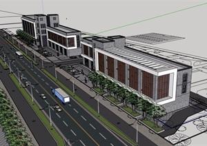 某现代风格详细的完整多层商业建筑SU(草图大师)模型