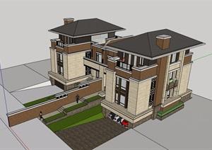 欧式风格详细的住宅双拼别墅SU(草图大师)模型