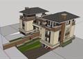 欧式风格详细的住宅双拼别墅su模型