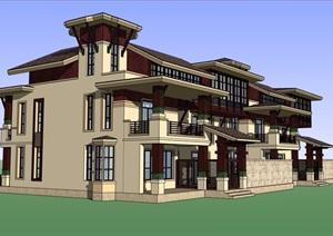 详细的整体住宅双拼别墅SU(草图大师)模型